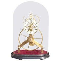 English Great Wheel Skeleton Clock Under Dome. Circa 1900