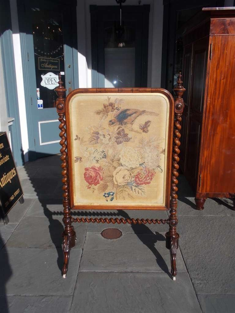 William IV English Kings Wood Needlepoint Fire Screen. Circa 1840 For Sale