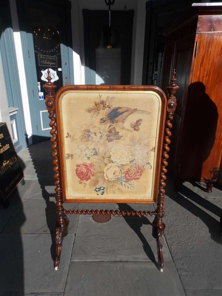 Hand-Carved English Kings Wood Needlepoint Fire Screen. Circa 1840 For Sale
