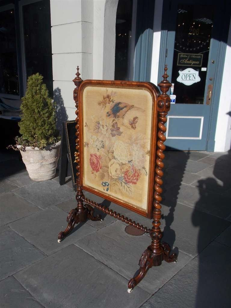 Mid-19th Century English Kings Wood Needlepoint Fire Screen. Circa 1840 For Sale