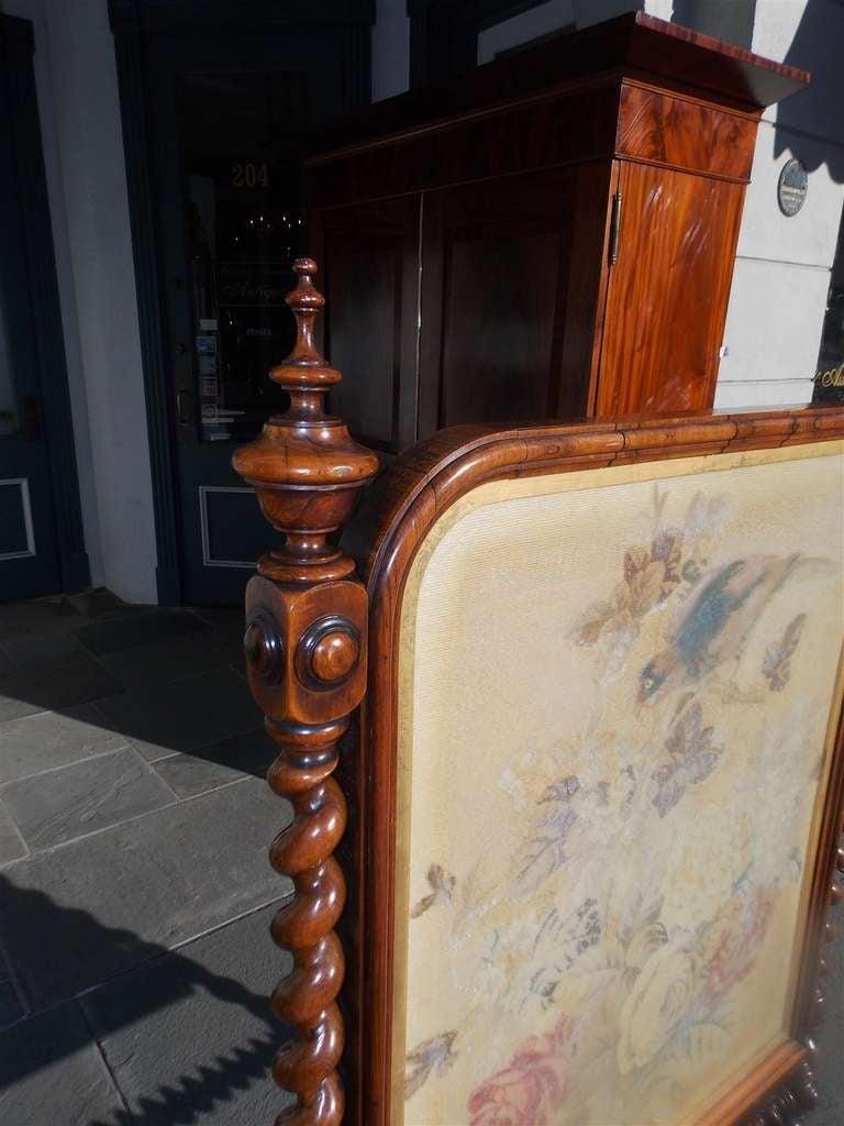 Kingwood English Kings Wood Needlepoint Fire Screen. Circa 1840 For Sale