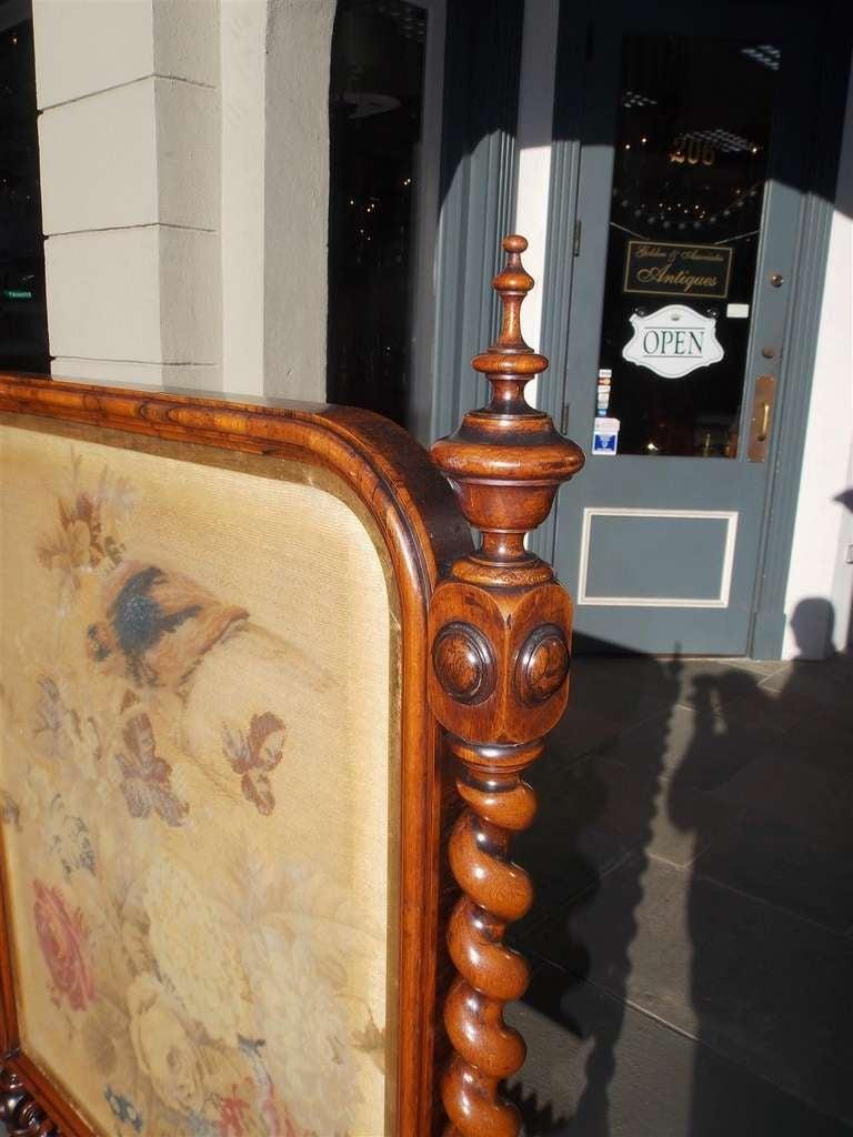 English Kings Wood Needlepoint Fire Screen. Circa 1840 For Sale 1