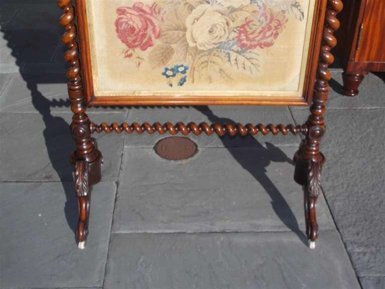 English Kings Wood Needlepoint Fire Screen. Circa 1840 For Sale 2