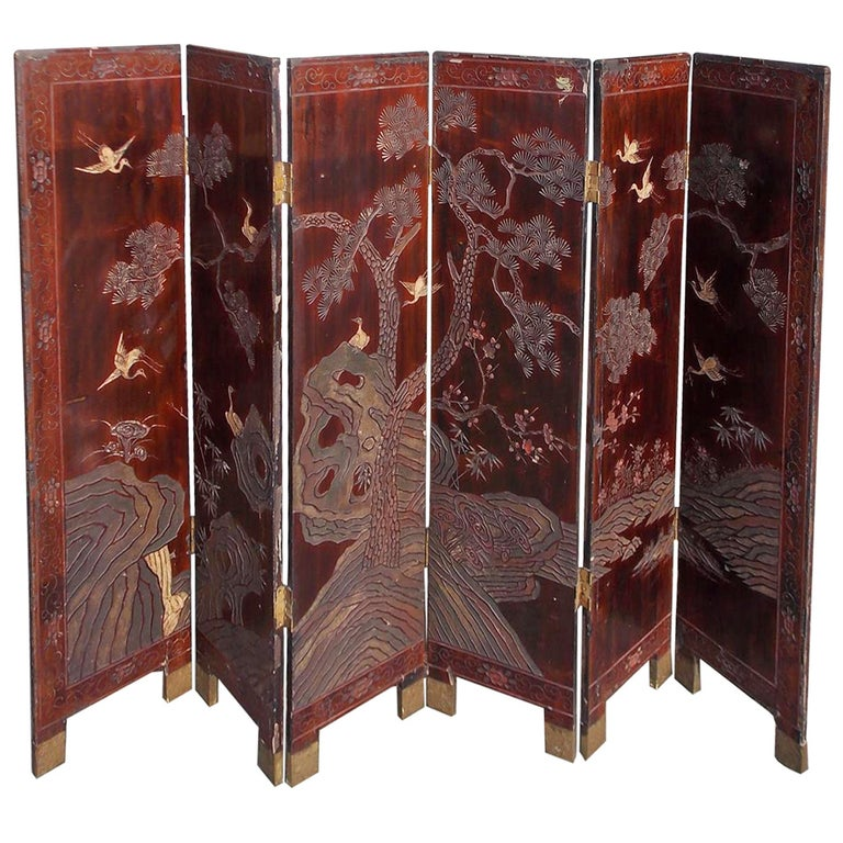 Chinese Six-Panel Decorative Folding Screen, ca. 1780, offered by Golden & Associates Antiques