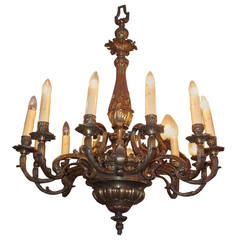 French Gilt Bronze Decorative Floral Chandelier, Circa 1840
