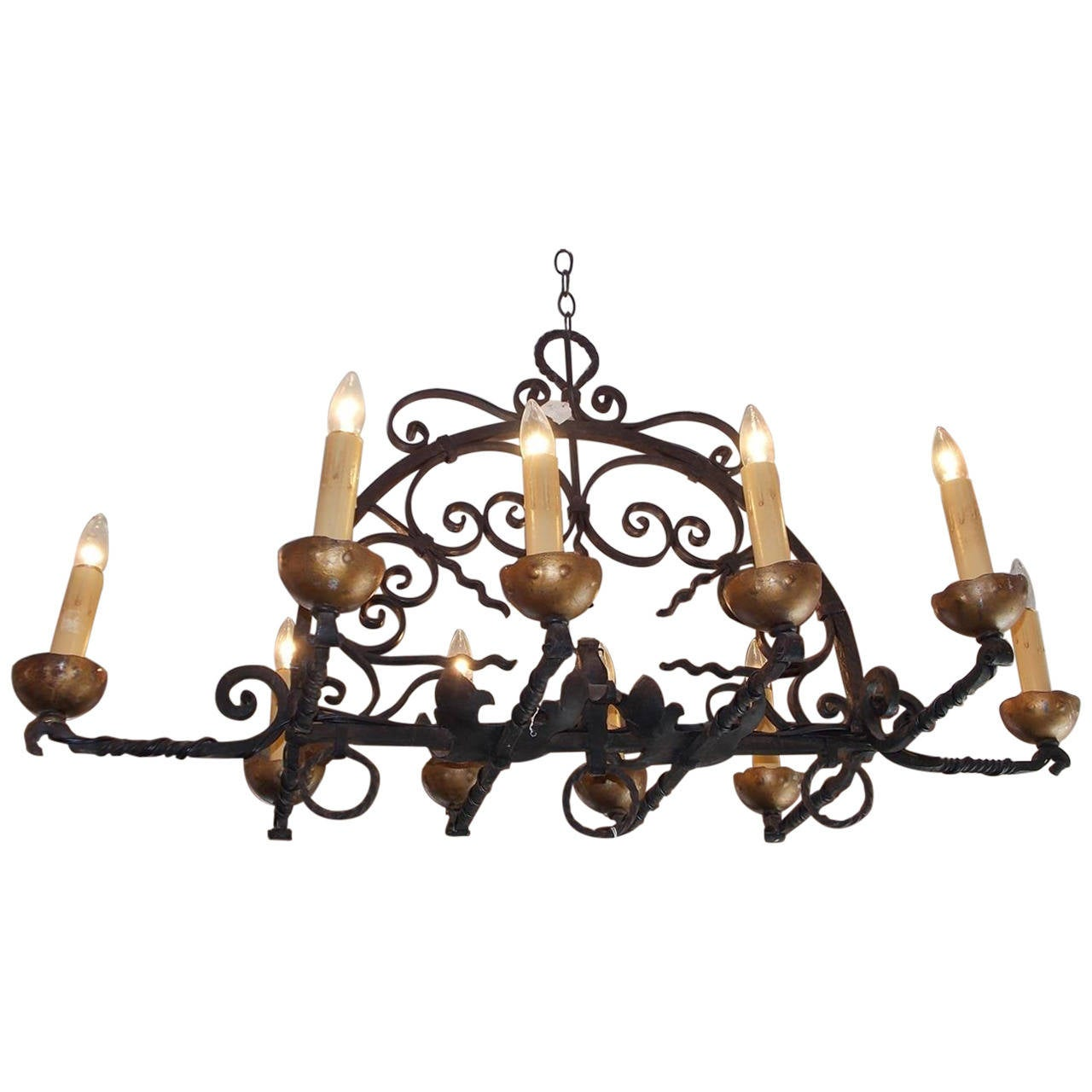 French wrought iron and gilt elongated chandelier circa 1850 for french wrought iron and gilt elongated chandelier circa 1850 for sale aloadofball Images