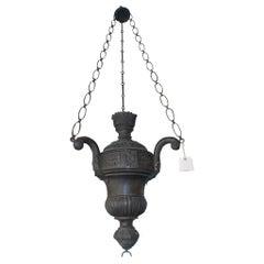 Italian Bronze and Tin Hanging Decorative Lantern, Circa 1820