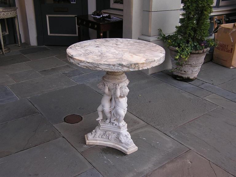 Italian Marble Cherub Pedestal Table At 1stdibs