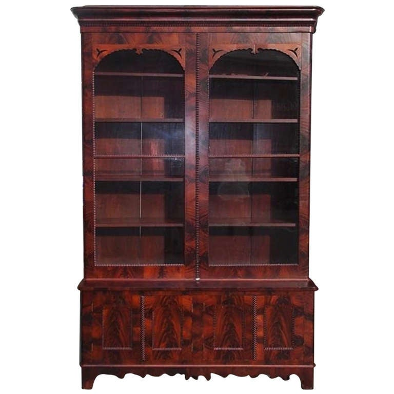 new arrival ace16 3d17a American Crotch Mahogany Glass Front Bookcase. Circa 1850