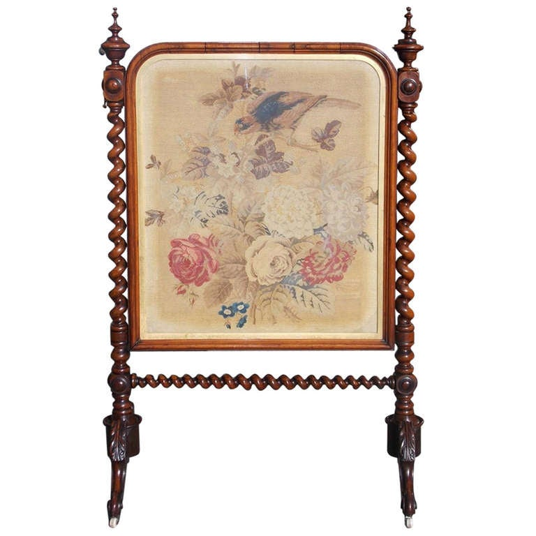 English Rosewood Needlepoint Fire Screen. Circa 1840 For Sale