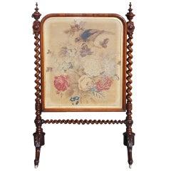 English Kings Wood Needlepoint Fire Screen. Circa 1840