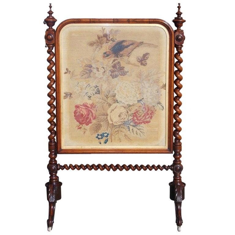 English Kings Wood Needlepoint Fire Screen. Circa 1840 For Sale