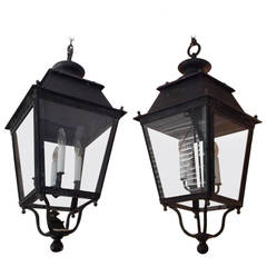 Pair of French Wrought Iron Hanging Glass Lanterns