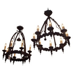 Pair of American Wrought Iron Gasoliers, Circa 1850