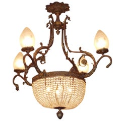 French Gilt Bronze Floral and Crystal Basket Chandelier.  Circa 1880
