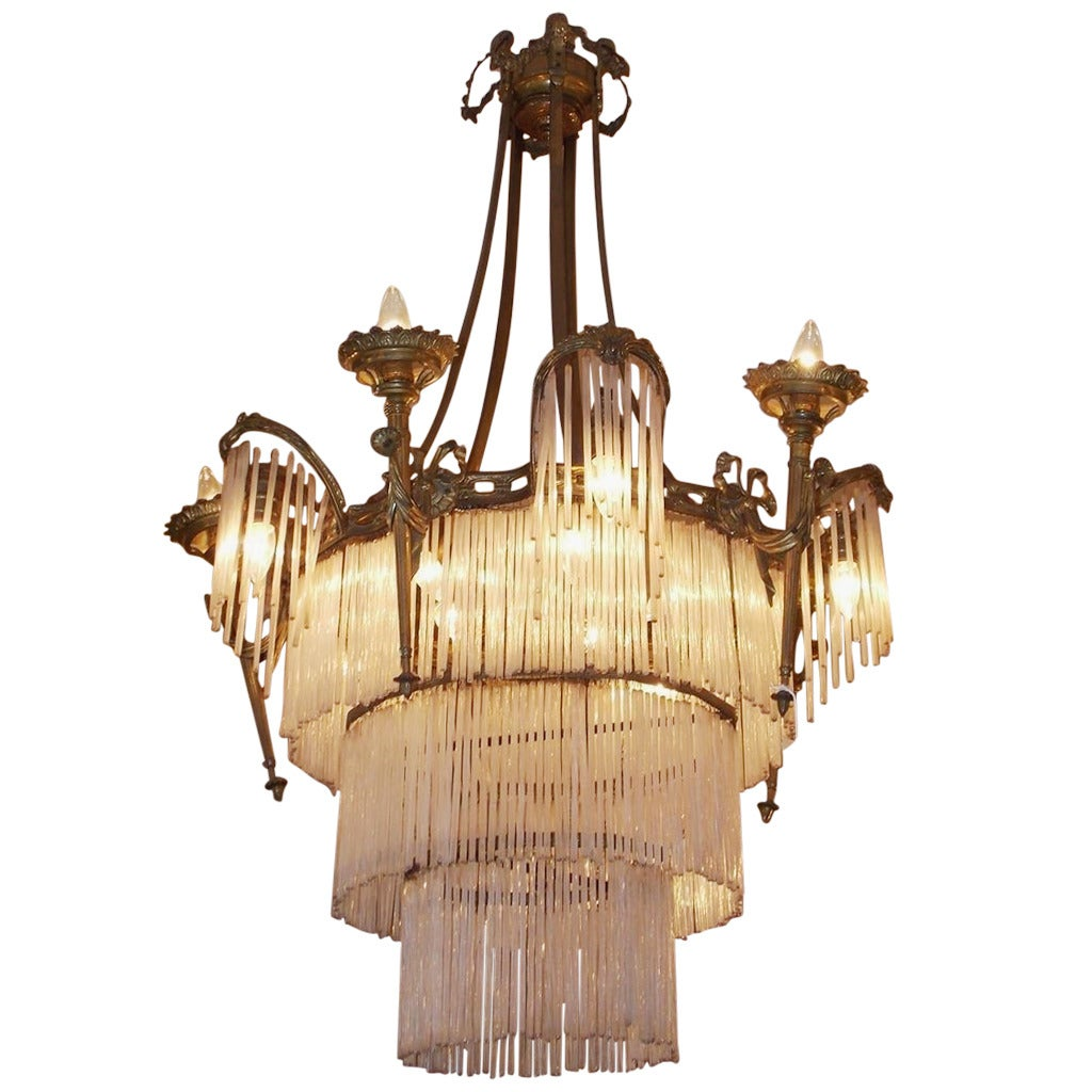 French Gilt Bronze and Crystal Tiered Chandelier, Circa 1870