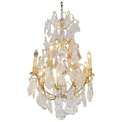 French Gilt Bronze and Crystal Sphere Chandelier. Originally Candles. C. 1840