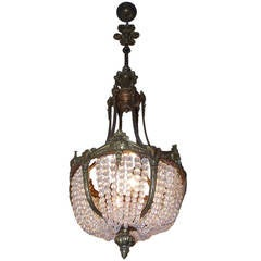 French Gilt Bronze and Crystal Basket Chandelier, Circa 1830