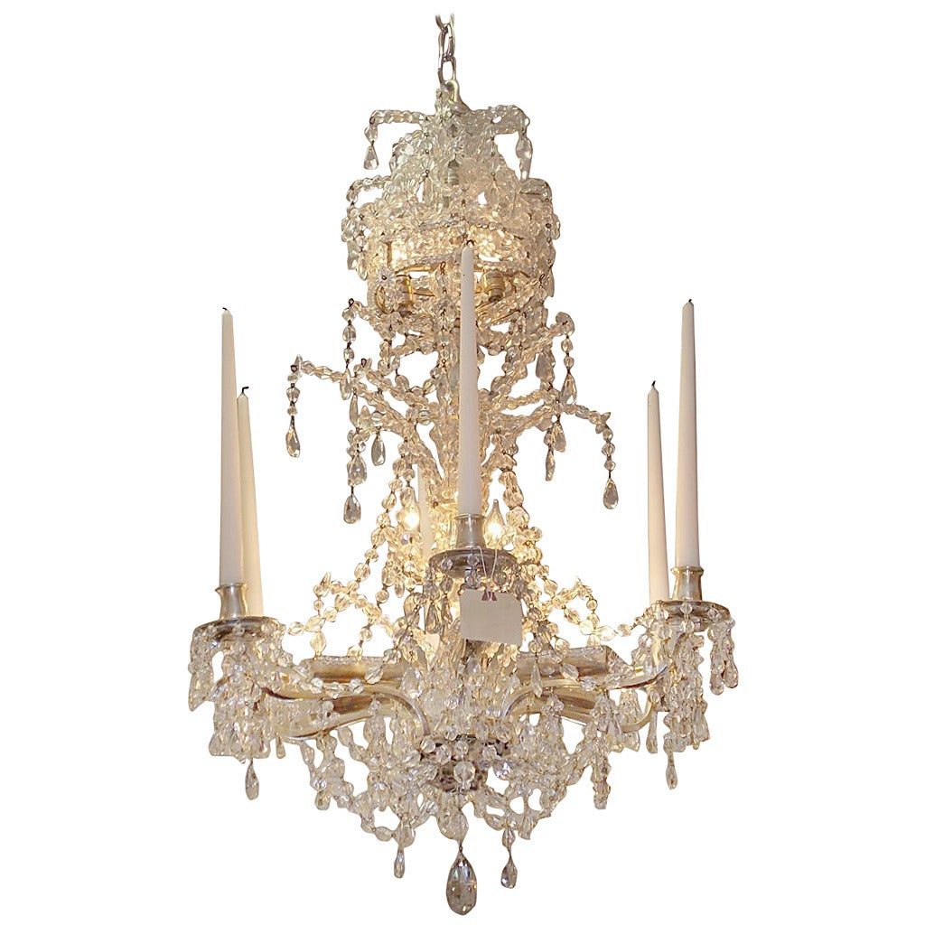 French Nickel Silver Over Bronze Crystal Chandelier Circa