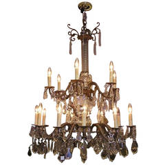 French Gilt Bronze Floral and Crystal Tiered Chandelier, Circa 1850
