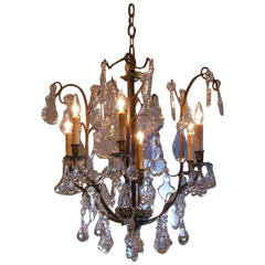 French Gilt Bronze and Tear Drop Crystal Chandelier, Circa 1830