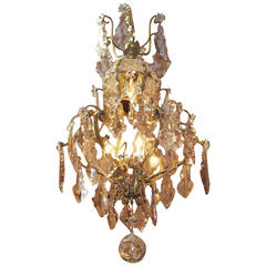French Gilt Bronze and Amethyst Crystal Chandelier, Circa 1820