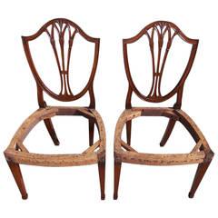 Pair of Charleston Classical Shield Back Mahogany  Side Chairs, Circa 1790