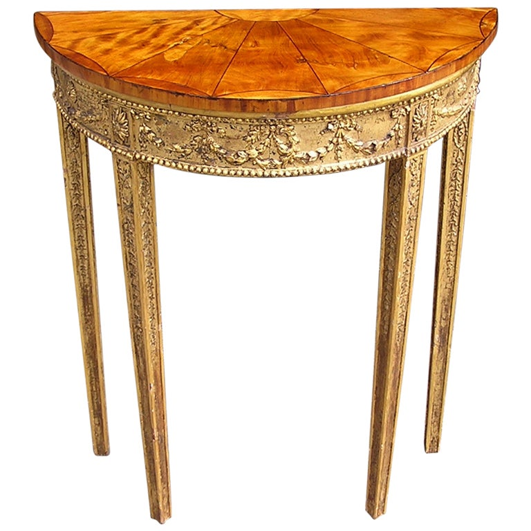 English Gilt Satinwood Demi-lune Console For Sale