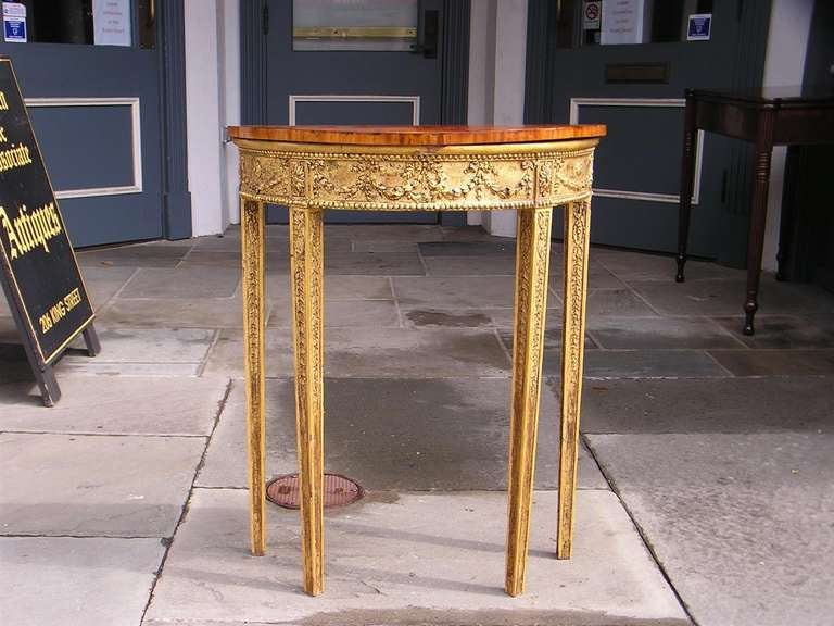 English Gilt Satinwood Demi-lune Console In Excellent Condition For Sale In Charleston, SC