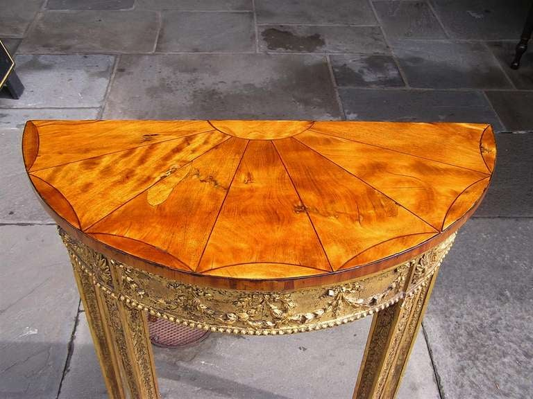 18th Century and Earlier English Gilt Satinwood Demi-lune Console For Sale