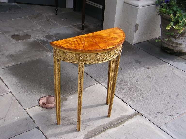 English Gilt Satinwood Demi-lune Console For Sale 1
