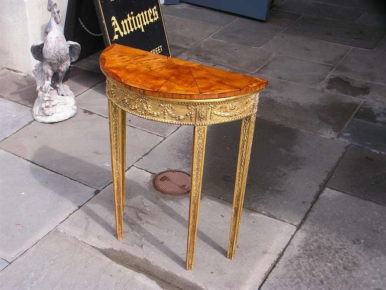 English Gilt Satinwood Demi-lune Console For Sale 2