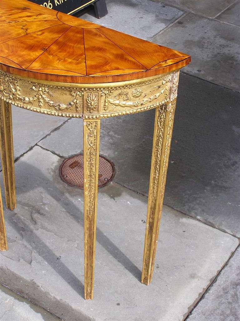 English Gilt Satinwood Demi-lune Console For Sale 3