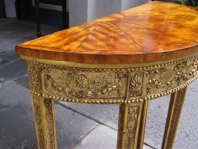 English Gilt Satinwood Demi-lune Console For Sale 4