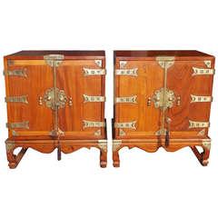 Pair of Korean Ash Miniature Brass Mounted Cabinets. Circa 1900