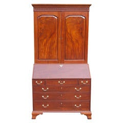 English Cuban Mahogany Blind Door Secretary With Bookcase, Circa 1775