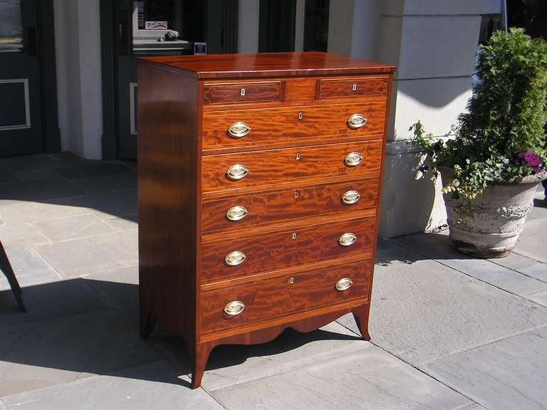 Hand-Carved American Mahogany Tall Case Satinwood Inlaid Chest . Circa 1790 For Sale