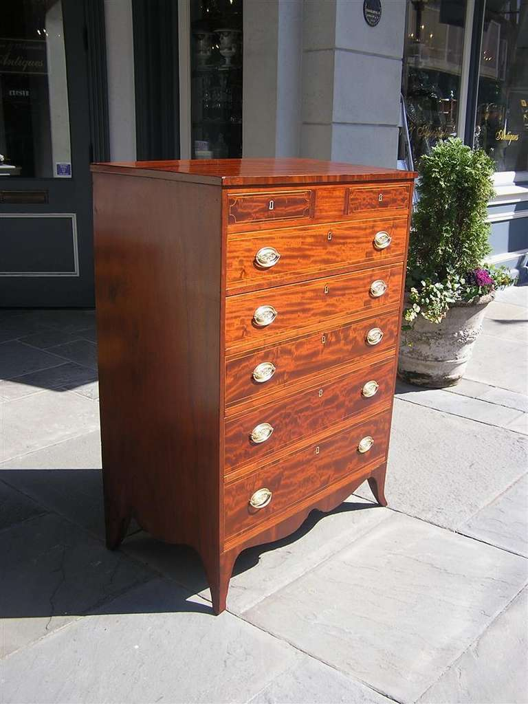 American Mahogany Tall Case Satinwood Inlaid Chest . Circa 1790 In Excellent Condition For Sale In Charleston, SC