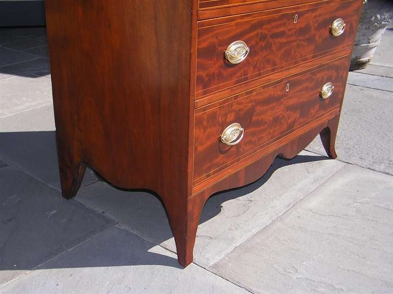 Brass American Mahogany Tall Case Satinwood Inlaid Chest . Circa 1790 For Sale