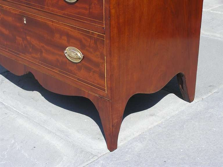 American Mahogany Tall Case Satinwood Inlaid Chest . Circa 1790 For Sale 1