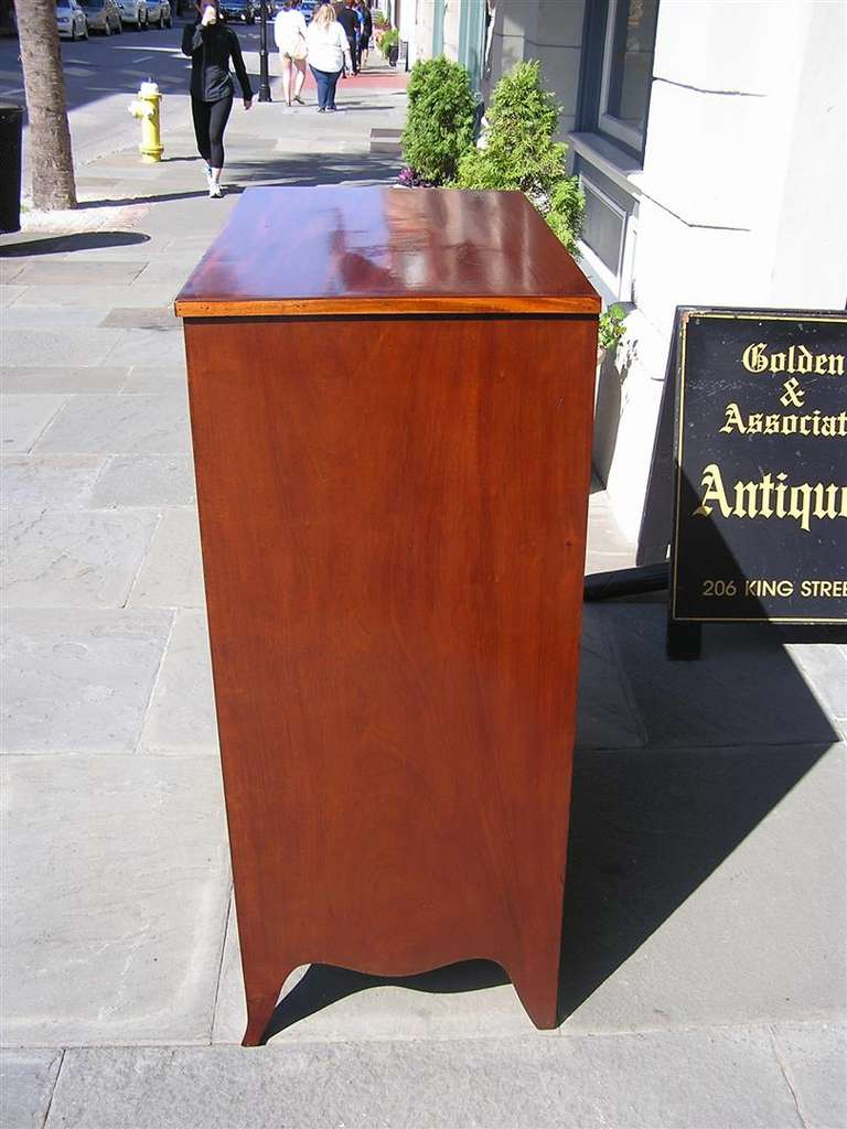 American Mahogany Tall Case Satinwood Inlaid Chest . Circa 1790 For Sale 2