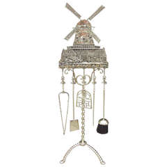 Dutch Brass Windmill Fire Tool Set on Stand. Circa 1900