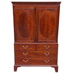 American Chippendale Mahogany Inlaid Book Matched Linen Press, Circa 1785