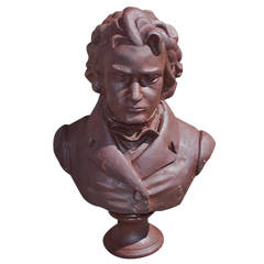 Ludwig van Beethoven Cast Iron Bust, Late 20th Century