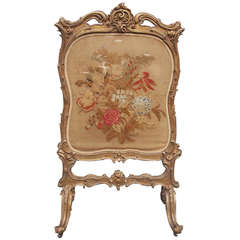 French Gilt Floral Aubusson Fire Screen. Circa 1780