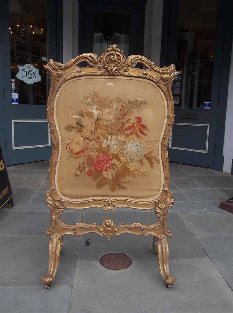 french gilt floral aubusson fire screen circa 1780 for sale at 1stdibs. Black Bedroom Furniture Sets. Home Design Ideas