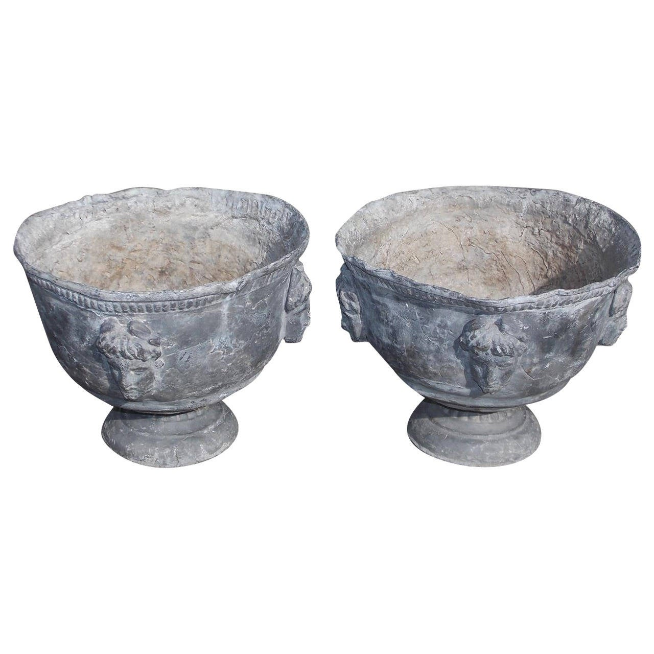 Pair of Italian Lead Decorative Garden Urns, Circa 1820