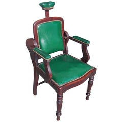 American Mahogany and Leather Dental Arm Chair, Circa 1840