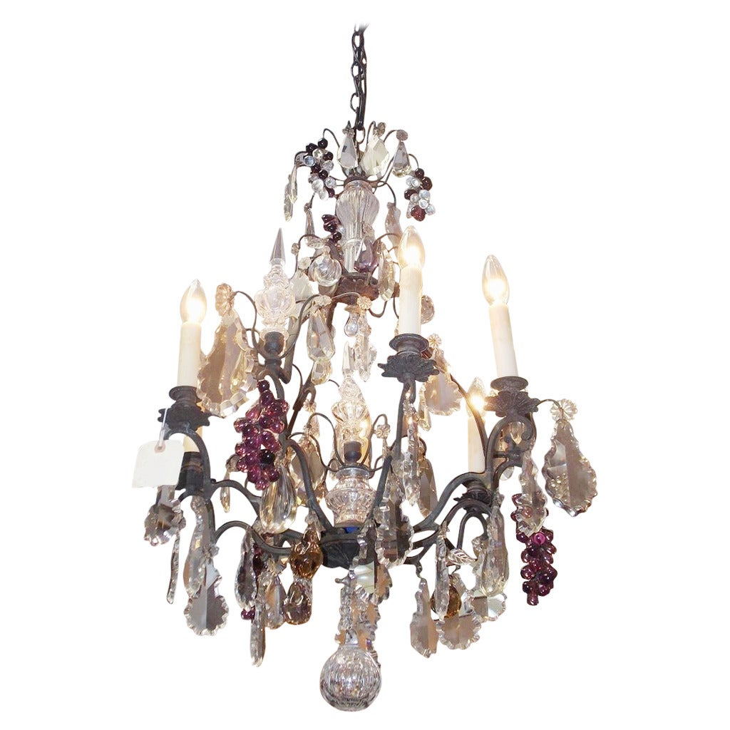 French Bronze And Crystal Grape Cluster Chandelier Circa