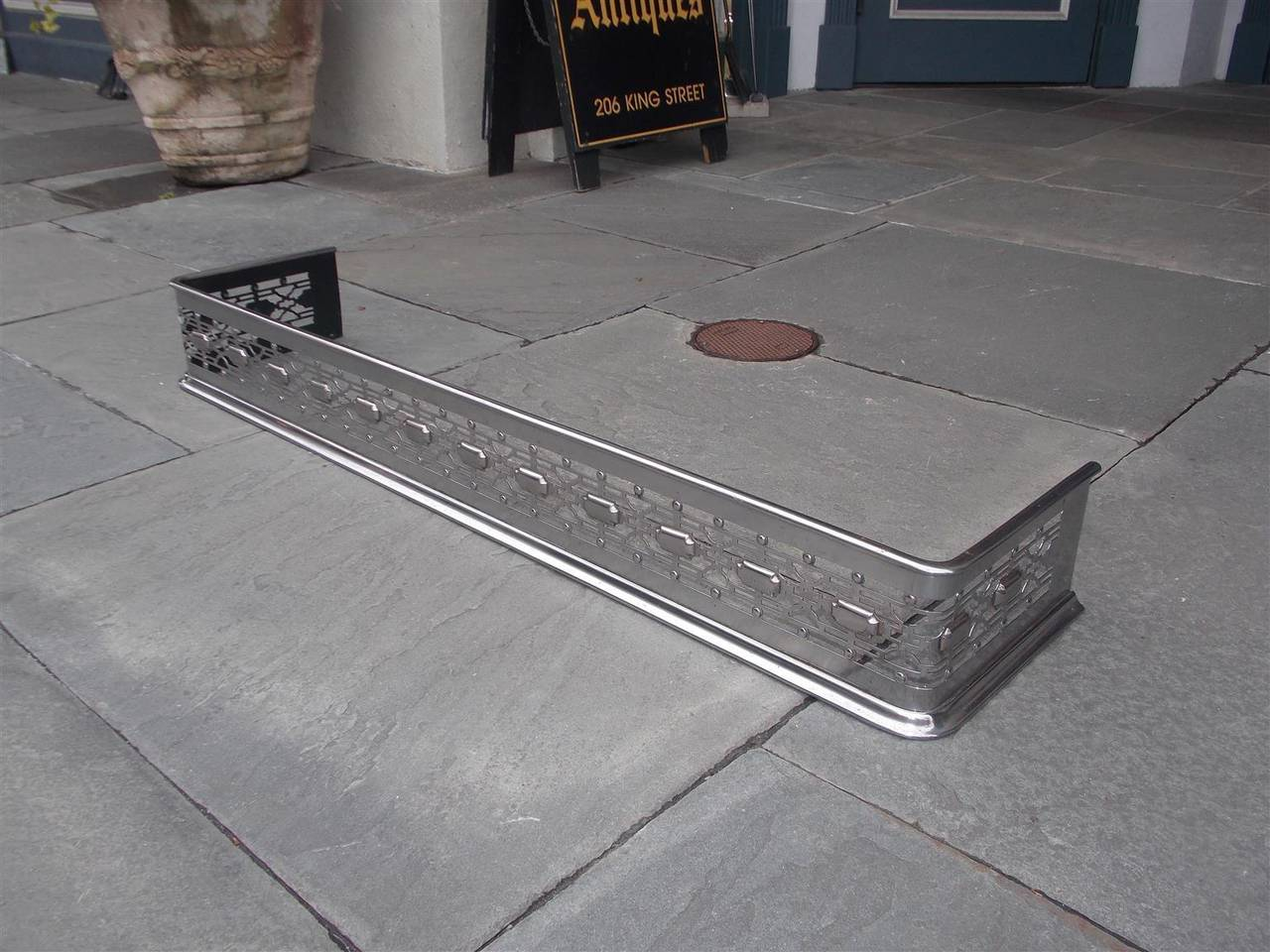 english polished steel and nickel silver fire fender circa 1820
